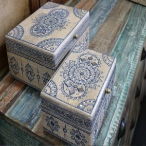 Wooden Painted Boxes (Set of 2)