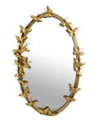 Butterfly Oval Shaped Gold Wall Mirror