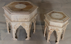 Wooden Painted Octagonal Stool (Set of 2)