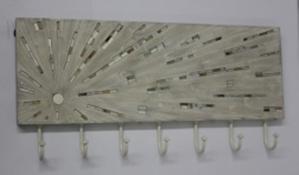 Sunburst with Small Mosaic 7 Wall Hooks