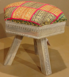 Wooden Painted Stool Cushion Seat (assorted multi-colour seats)