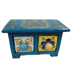 Wooden Chest with 2 Ceramic Drawers Assorted color