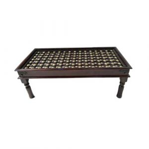 Handcarved Coffee Table Wood  Metal Fitted