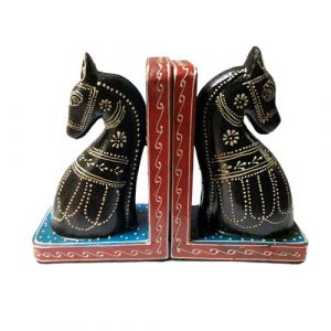 Horse Wooden Book Ends Multicolor (set of 2)