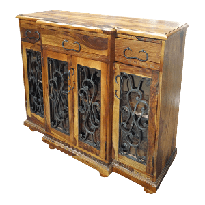 Wooden Iron jali (Grid) console