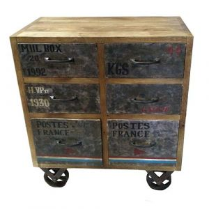 Side Unit Reclaim Wood With Wheels