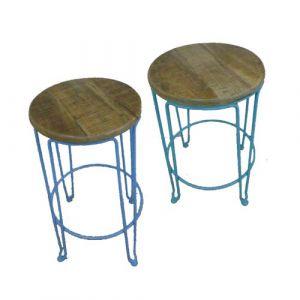 Round Stool Iron Wooden Seat (set of 2)