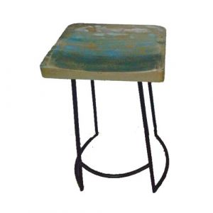 Stool Iron Square Wooden Seat