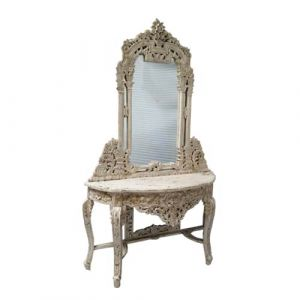 Antique Hand Carve Wooden Mirror Console Table Distress Finish