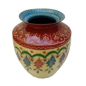 Iron Pot Emboss Painted Blue Rim