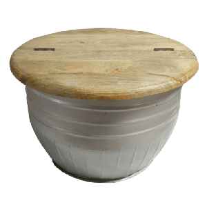 Iron Drum Coffee table With Wooden Top