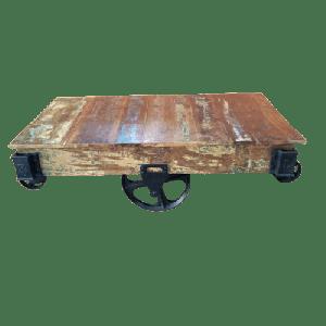 Wooden Iron Wheel Coffee Table