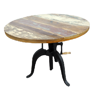 Iron Crank Table With Round Wooden Top