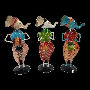 Multicolour painted musical Ganesha figurine set of 3 pcs