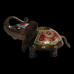 Tribal iron painted t lite elephant