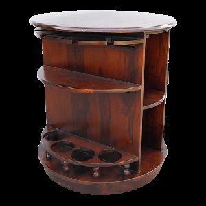 A  Pure Wood Elegant Round Shaped Polished Dark Red Bar Cabinet