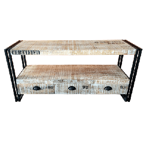 Wooden Iron Industrial TV Unit