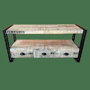 Wooden Iron Industrial TV Unit