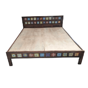 Wooden Tile Fitted Bed with solid base