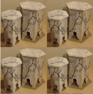 Wooden Painted Hexagonal Stool - Flower (Set of 2)