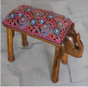 Wooden Elephant Cushion Seat Bench