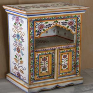 Wooden Painted 2 Door Bed Side Cabinet