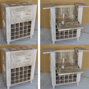 Wooden Painted Wine Rack Cabinet