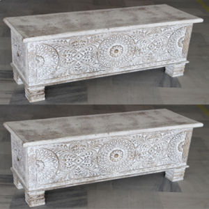 Wooden White Wash Carved Box