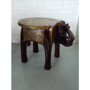 """Metal Fitted 12"""" Elephant Stool"""