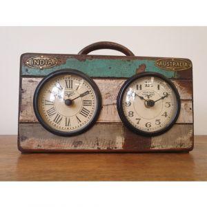 Reclaimed Wood Australia India table clock