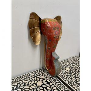 Wooden Elephant Head Wall Piece (Orange)
