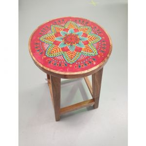 Wooden Stool with Painted Top (assorted colours)