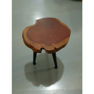 Acacia Wood Stool on 3 Legs