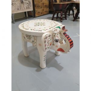 White Hand-Painted Elephant Stool