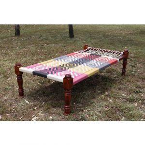 Cotton Multi-colour Manji Bed