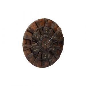 Old Wooden Spinning Wheel Clock with Iron Clutch Plate