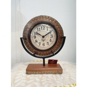 Wooden Round Metal Filled Wooden Clock