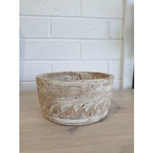 Distressed Wooden Bowl (Small)