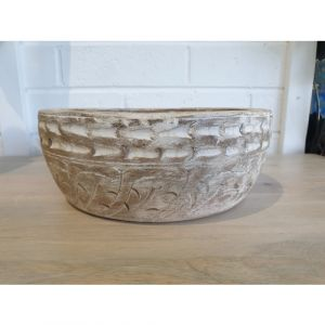 Distressed Wooden Bowl (Medium)