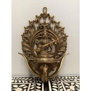 Brass Saraswati Wall Piece