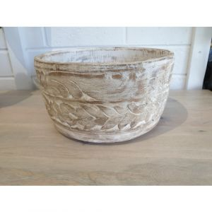 White Distressed Wooden Bowl (Big)