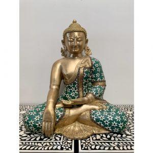 Big Brass Buddha with Green Flower Stones