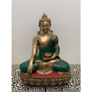 Big Brass Buddha with Green and Red Stones