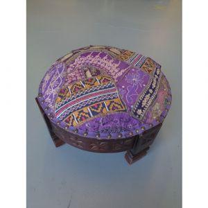 Purple Patchwork Chakki Stool (Small)
