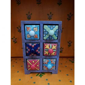 6 Ceramic Drawer Wooden Box Assorted Colours