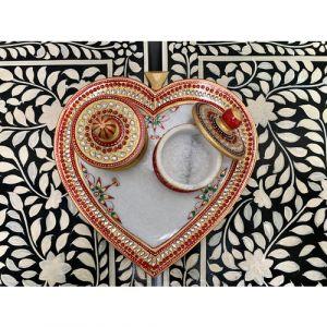 Heart shape Marble Pooja Thali Set