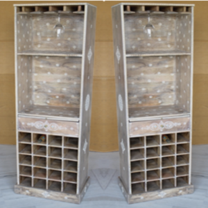 Wooden Painted Wine Rack Cabinet (Vertical)