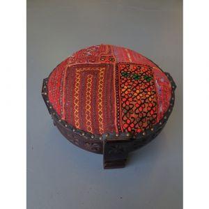 Red Patchwork Chakki Stool (Small)