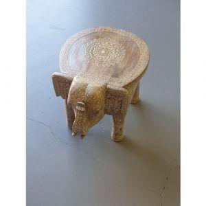 """15"""" White Henna Elephant Stool"""