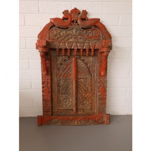 Peacock Antique Jharokha with Doors (Red)